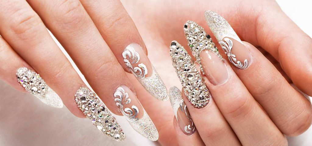 bridal nails strass